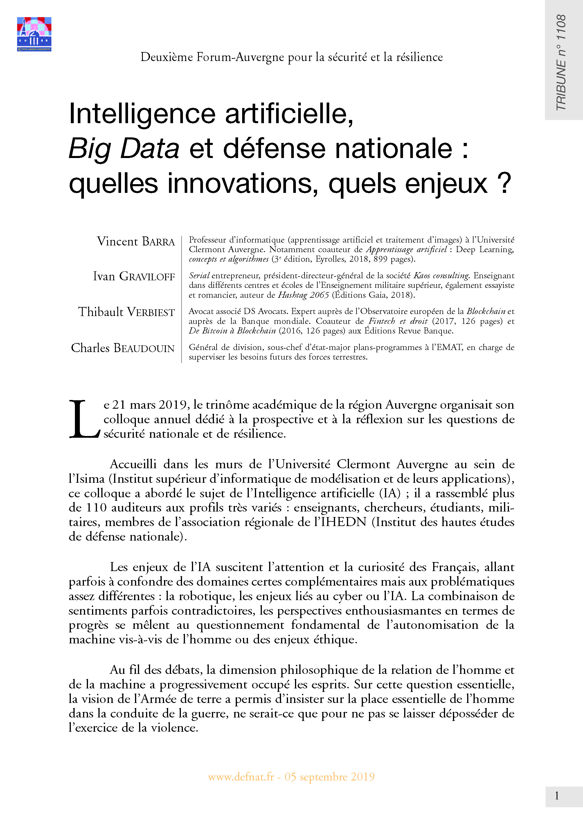 Intelligence artificielle, Big Data et défense nationale : quelles innovations, quels enjeux ? (T 1108)