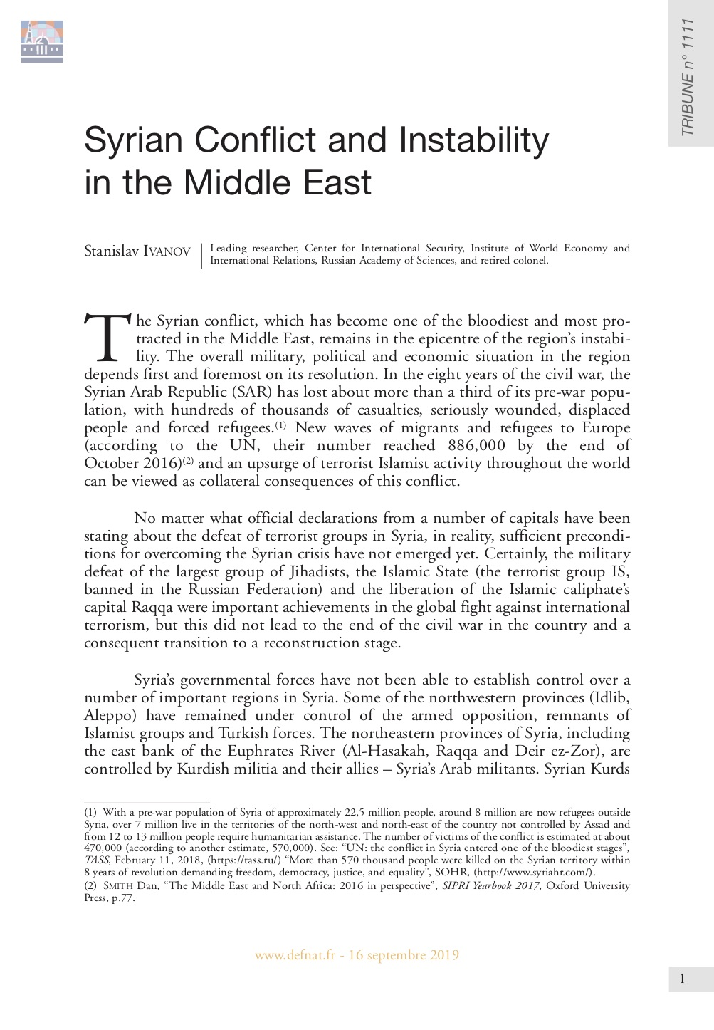 Syrian Conflict and Instability in the Middle East (T 1111)
